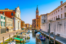 Chioggia Town In Venetian Lagoon, Water Canal And Church. Veneto, Italy