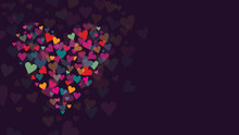Colorful Hearts Collage Vector Illustration