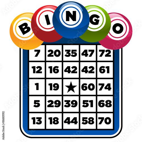 Illustration of bingo game card and balls Canvas Print