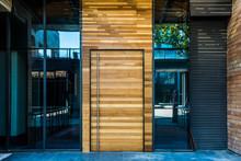 Glass Door Of The Office Build...