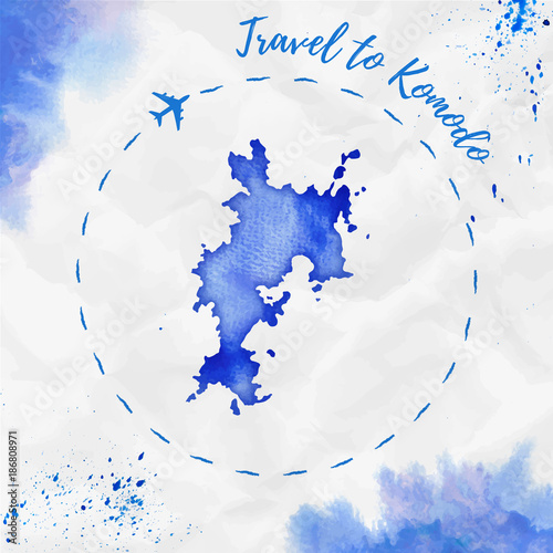 Wall Murals Form Komodo watercolor island map in blue colors. Travel to Komodo poster with airplane trace and handpainted watercolor Komodo map on crumpled paper. Vector illustration.