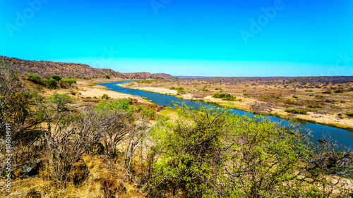 Spoed Foto op Canvas Turkoois The Olifant River in Kruger National Park in South Africa viewed from Olifant Lookout between Olifant and Letaba Rest Camps