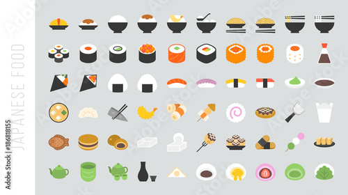 Big set of japanese food and beverage flat icon sushi, yakisoba, takoyaki, onigi Canvas Print