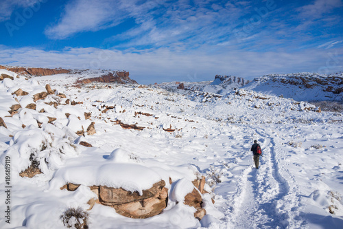 The Hiker Hiking at Arhces National Park in Snow in Winter Canvas Print