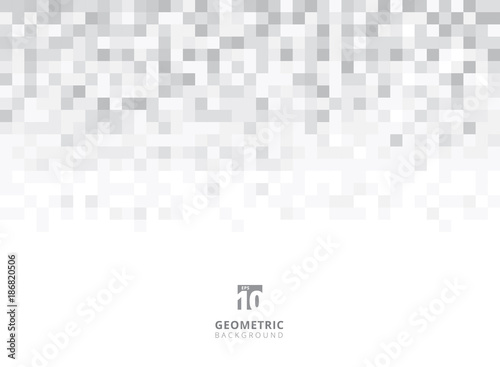 Fotografie, Obraz  Abstract squares geometric gray and white background with copy space