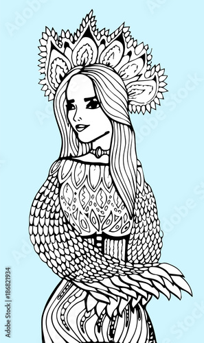 Pretty elegant girl, floral wreath. Coloring book page for adult ...