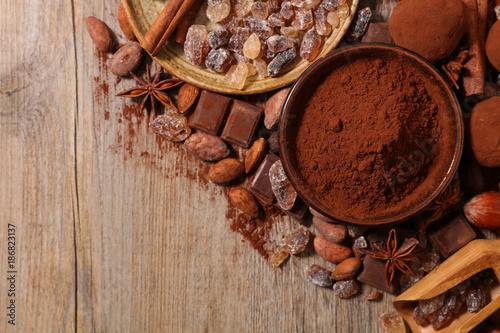 Foto op Plexiglas Chocolade assorted cocoa,sugar,spice