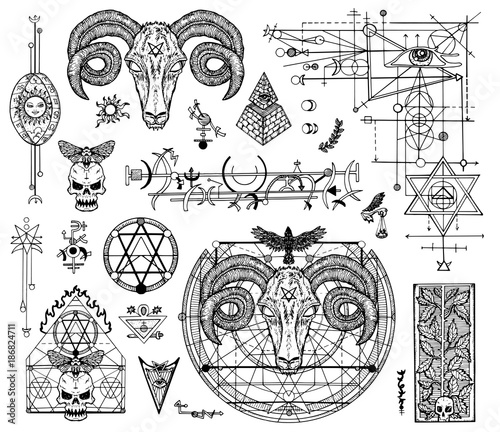 Photo  Design set with graphic drawings of mystic and religions and devil symbols