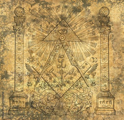 Scrapbook Design Background With Mason Religious Symbols