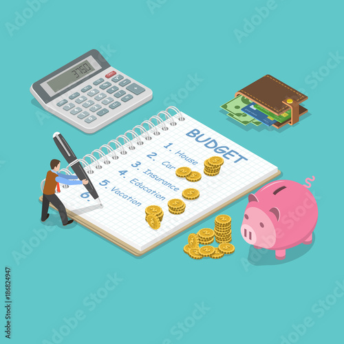 Cuadros en Lienzo Family budget flat isometric vector concept