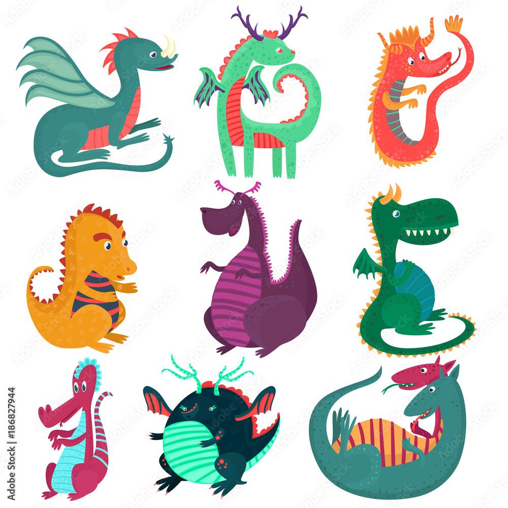 Fototapeta Cute funny dragon characters set, cchildish cartoon style fairy dragons vector Illustrations