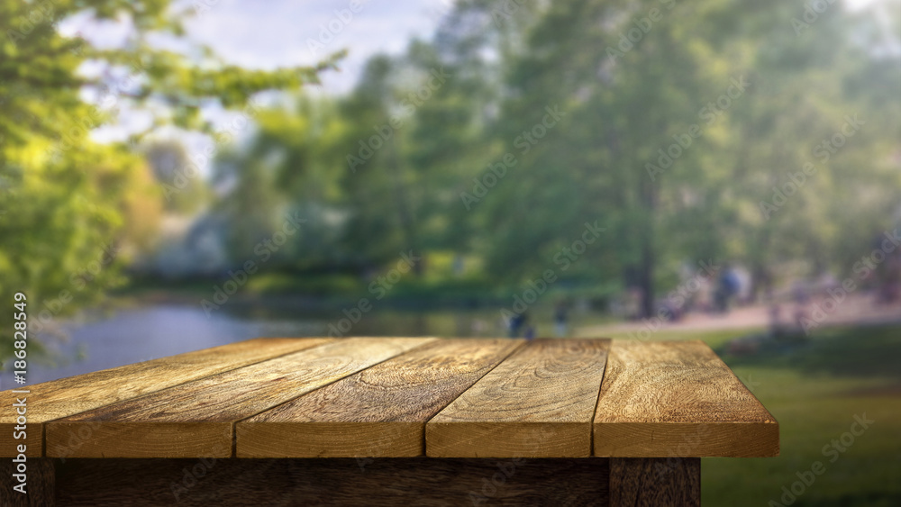 Fototapety, obrazy: Wooden Table outside in park background