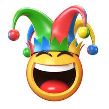 Jester Emoji Isolated On White Background, Joker Emoticon 3d Rendering