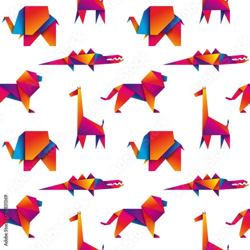 afrykańskie zwierzęta bezszwowe tło wektor - 186831369