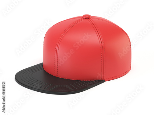 Black And Red Snap Back Mock Up Blank Hat Template Isolated On White Background