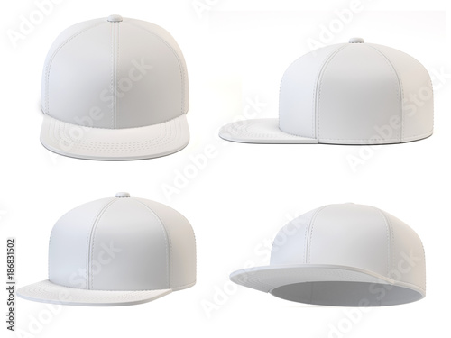 White Snap Back Mock Up Blank Hat Template Various Views Isolated On