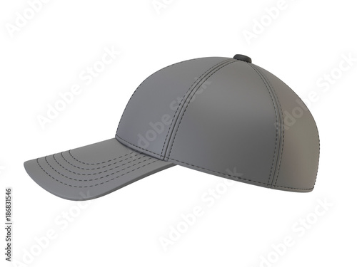 Gray Baseball Cap Mock Up Blank Hat Template Isolated On White Background 3d Rendering