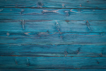 Wooden Texture Blue Background. Top View. Copy Space.