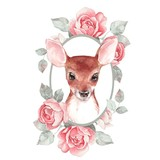 Baby Deer and flowers. Hand drawn cute fawn. Watercolor illustration - 186836381