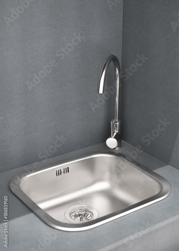 Merveilleux Tiny Kitchen Sink With Tap, Cooking From Wood Cement Boards, Sink With Mixer