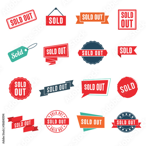 Fotografía  Sold out banners, labels, stamps, and signs isolated on white background