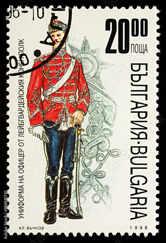 Fotografía  Bulgarian Guard officer Cavalry Regiment on postage stamp