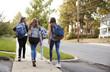 Leinwandbild Motiv Four young teen girls walking to school together, back view