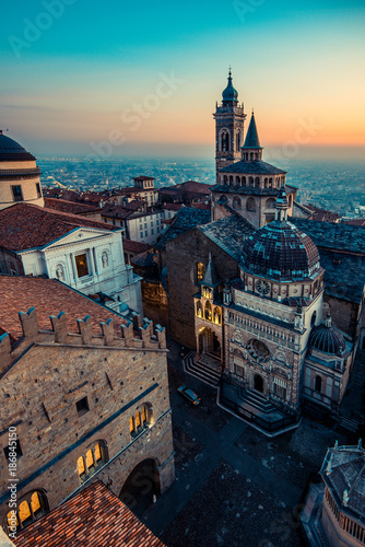 Fotografiet Bergamo Alta old town at sunset - S