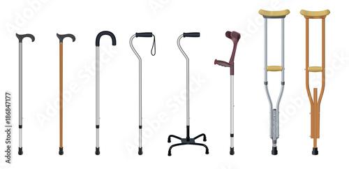 Photo Set of walking sticks and crutches