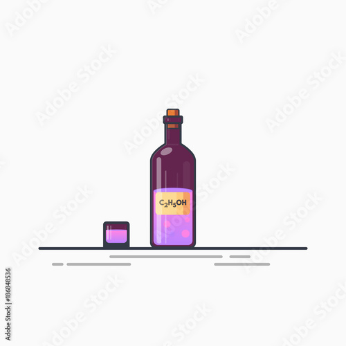 Bottle of purple alcohol or ethanol with chemical formula