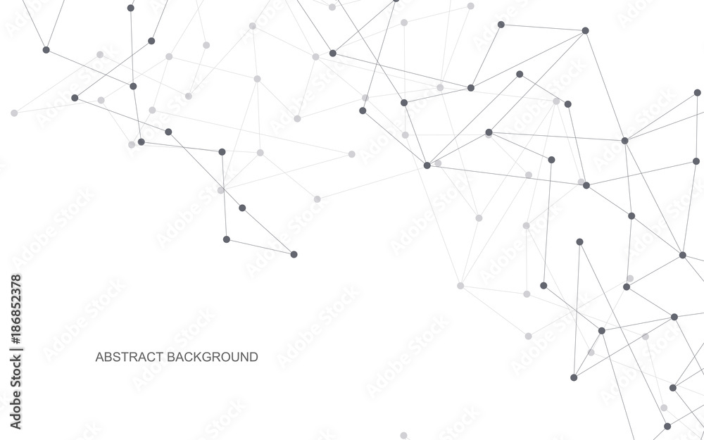 Fototapeta Vector global creative social network. Abstract polygonal background with lines and dots.