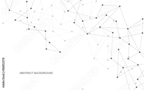 Fototapeta Vector global creative social network. Abstract polygonal background with lines and dots. obraz