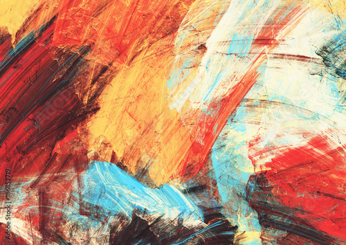Obraz Bright artistic splashes on white. Abstract painting color texture. Modern futuristic pattern. Multicolor dynamic background. Fractal artwork for creative graphic design. - fototapety do salonu