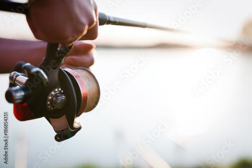 Poster Peche Fishing, hobby and recreational concept - fishermen
