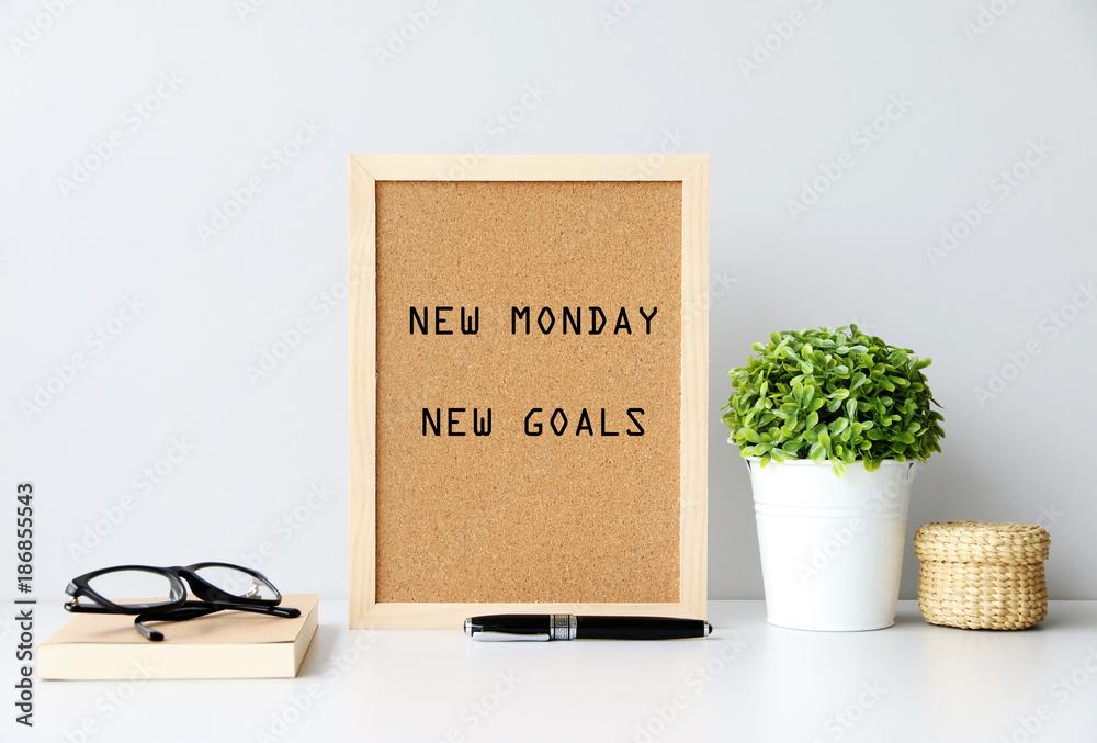 Fototapety, obrazy: NEW MONDAY NEW GOALS Concept