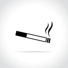 Cigarette Icon On White Backgr...