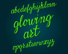 Glowing Art Typeface. Bright T...