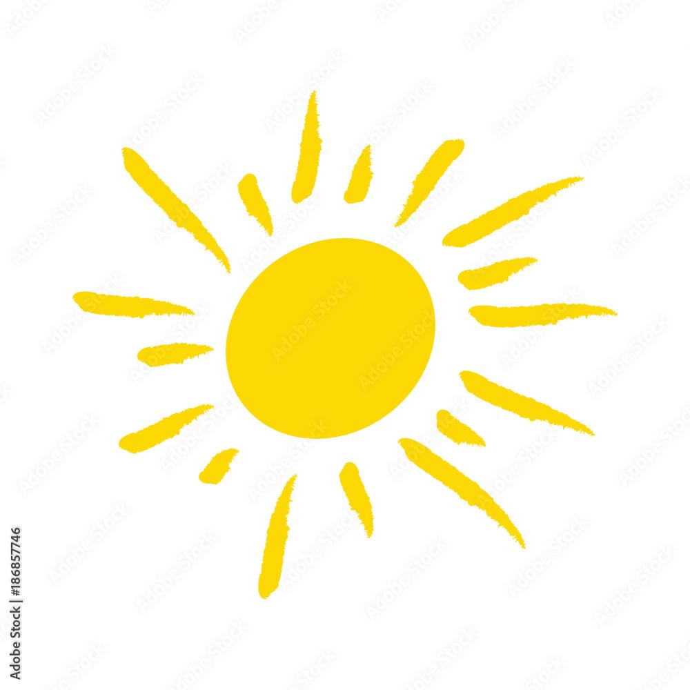 Fototapeta Odręcznie narysowane słońce na białym tle