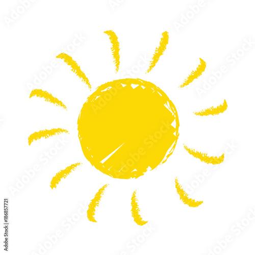 Obraz Odręcznie narysowane słońce na białym tle - fototapety do salonu