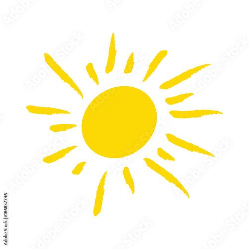 fototapeta na ścianę Odręcznie narysowane słońce na białym tle