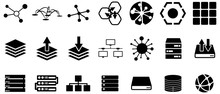 Black Server And Connection Vector Icons Pack