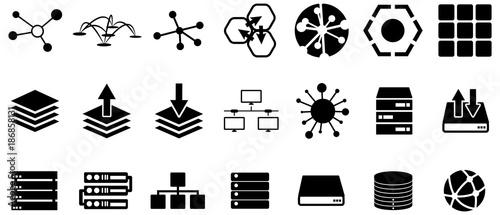 Fotomural Black server and connection vector icons pack