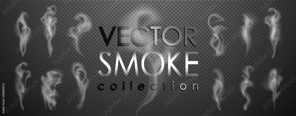 Fototapety, obrazy: Smoke vector collection, isolated, transparent background. Set of realistic white smoke steam, waves from coffee,tea,cigarettes, hot food,... Fog and mist effect.