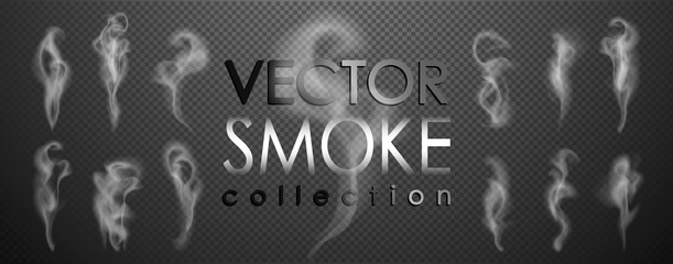 Smoke vector collection, isolated, transparent background. Set of realistic white smoke steam, waves from coffee,tea,cigarettes, hot food,... Fog and mist effect.