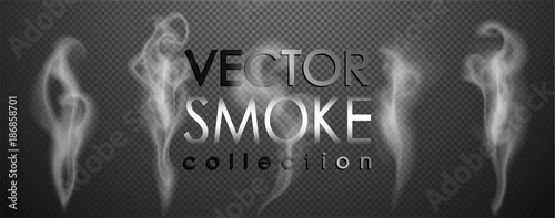 Fotobehang Rook Smoke vector collection, isolated, transparent background. Set of realistic white smoke steam, waves from coffee,tea,cigarettes, hot food,... Fog and mist effect.