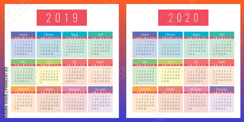 Office 2020 Calendar 2020 calendar, 2019, color, design, vector, office, monthly