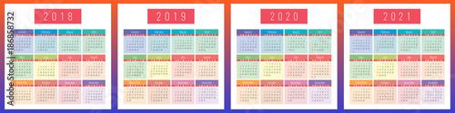 Poster  Calendar, 2021, 2020, 2019, 2018, set, template, series