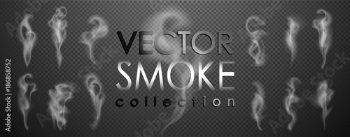 Staande foto Rook Smoke vector collection, isolated, transparent background. Set of realistic white smoke steam, waves from coffee,tea,cigarettes, hot food,... Fog and mist effect.
