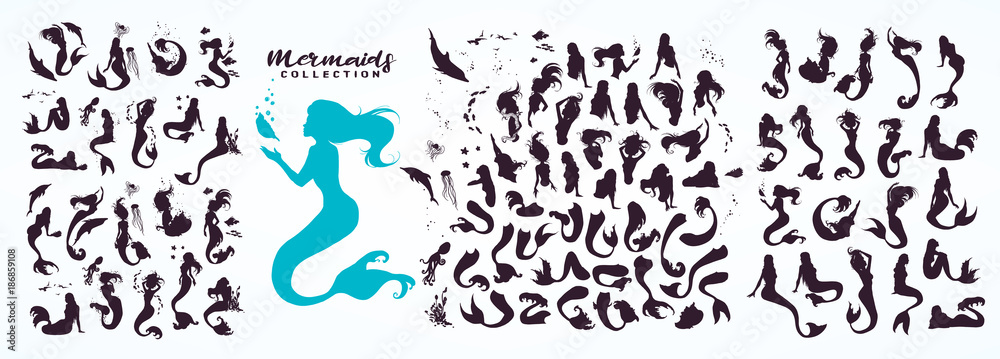 Fototapeta Set: ink sketch collection of mermaids and siren creator, isolated on white. Hand drawn realistic sketch of singing, sitting, floating, dancing... mermaid and sea life. Vector illustration.
