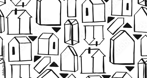Hand drawn vector abstract graphic seamless triangle and houses scandinavian pattern. Textile background. Wrapping texture
